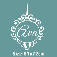 Custom made personalized Girls name Eiffel Tower Monogram Paris Vinyl Wall Decal Sticker Home Decoration