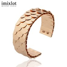 Fish Scale Shape Iron Cuff Bracelets Bangles Black Gold Open Wide Bracelet Pulseira Feminina Fashion Accessories Jewelry