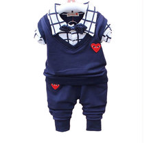 2017 Spring Infant Baby Boy Clothes Sets Outfit Coat Suit Bow Lie Boys Set Brand Clothing Long-sleeve New born Baby Boy Cloth