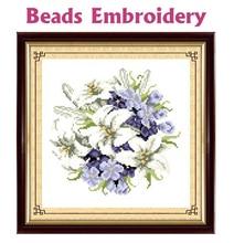 25 см x 25 см частично бисером комплект Зимний цветок 11ct Счетный точным набивные ткани вышивка крестиком Бусины вышивка набор(China)