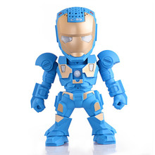 C-89 Iron Man Bluetooth Speaker with LED Flash Light Deformed Arm Figure Robot Portable Mini Wireless Subwoofers TF FM USB Card(China)