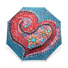 Brand Automatic Umbrella Rain Women Heart Print Anti UV Three Folding Umbrellas Ladies Parasol Wind Resistant Unique Pattern