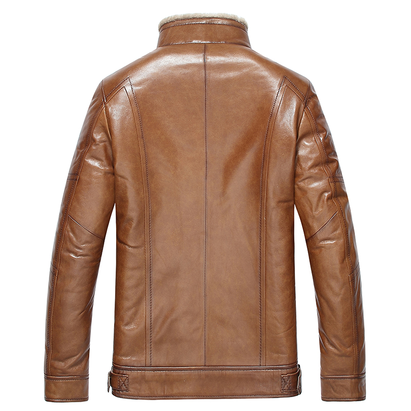 Gours Winter Men's Genuine Leather Jackets Brand Brown Goatskin Jacket and Coats with Fur Wool Collar Warm 2017 New Arrival 4XL