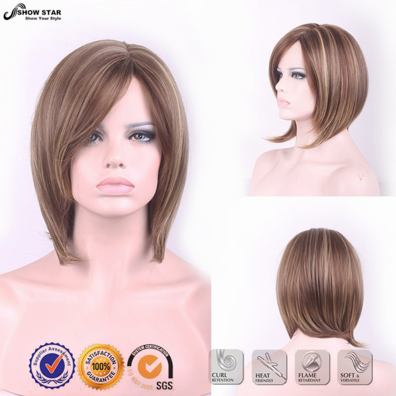 Hot Sale Women Brown Blonde Layered Wig Short Bob Wigs Heat Resistant Hair Highlightes wig Kanekalon Synthetic Hair Straight Wig<br><br>Aliexpress