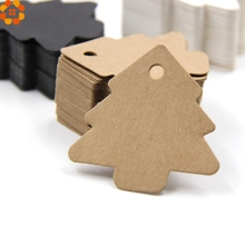 50PCS DIY Paper Tags Tree Shape Kraft Paper Card Labels Paper Cards Tags For Christmas/Wedding Party Favors Blank Hang Tag Gift