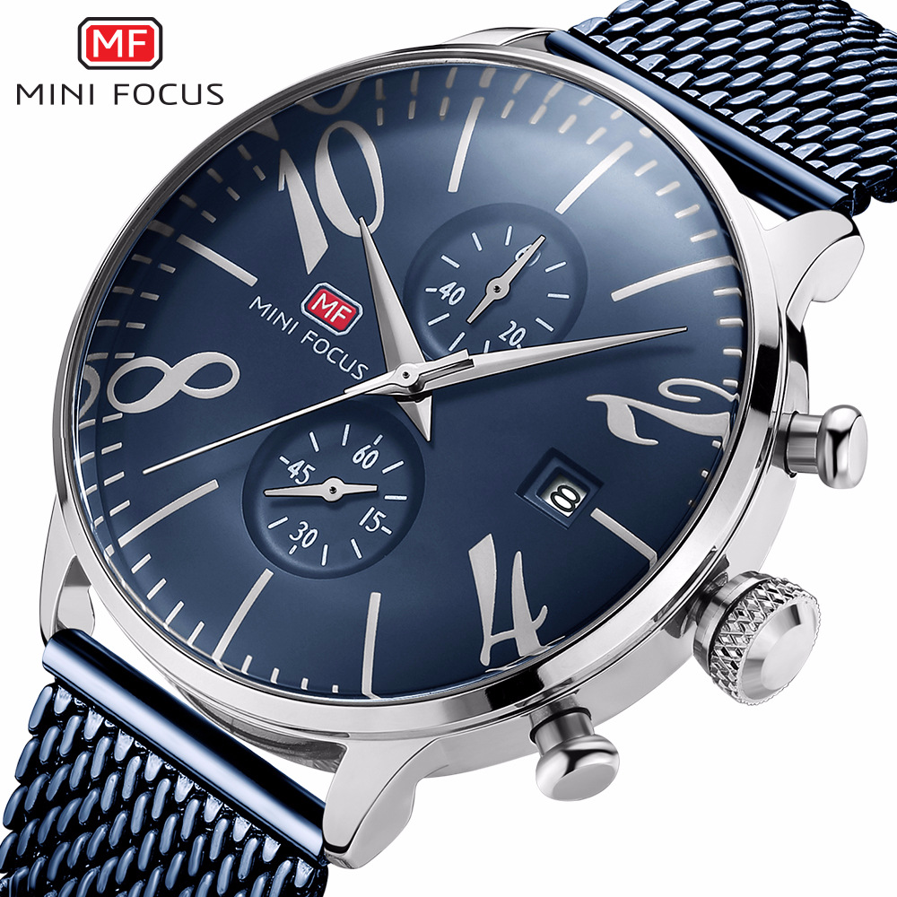 MINI FOCUS brand mens wristwatches quartz 316L stainless steel business man watches waterproof calendar Chronograph male clocks<br>