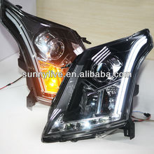 For Cadillac SRX 2010-2013 year LED Strip Head Light with Bi Xenon Projector Lens HID Kit  LD