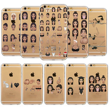 Unique Design Ugly Crying Face KIMOJI Case for iphone 4 4s 5 5s SE 6 6s 6 plus Soft Sillicon Transparent TPU Phone case cover