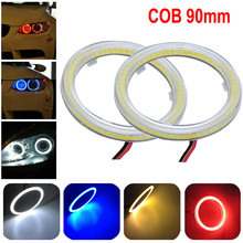 2PCS Universal Car White 90MM COB LED Angel Eyes Headlight Halo Ring Warning Lamps with Cover Waterproof Car Light Wholesale