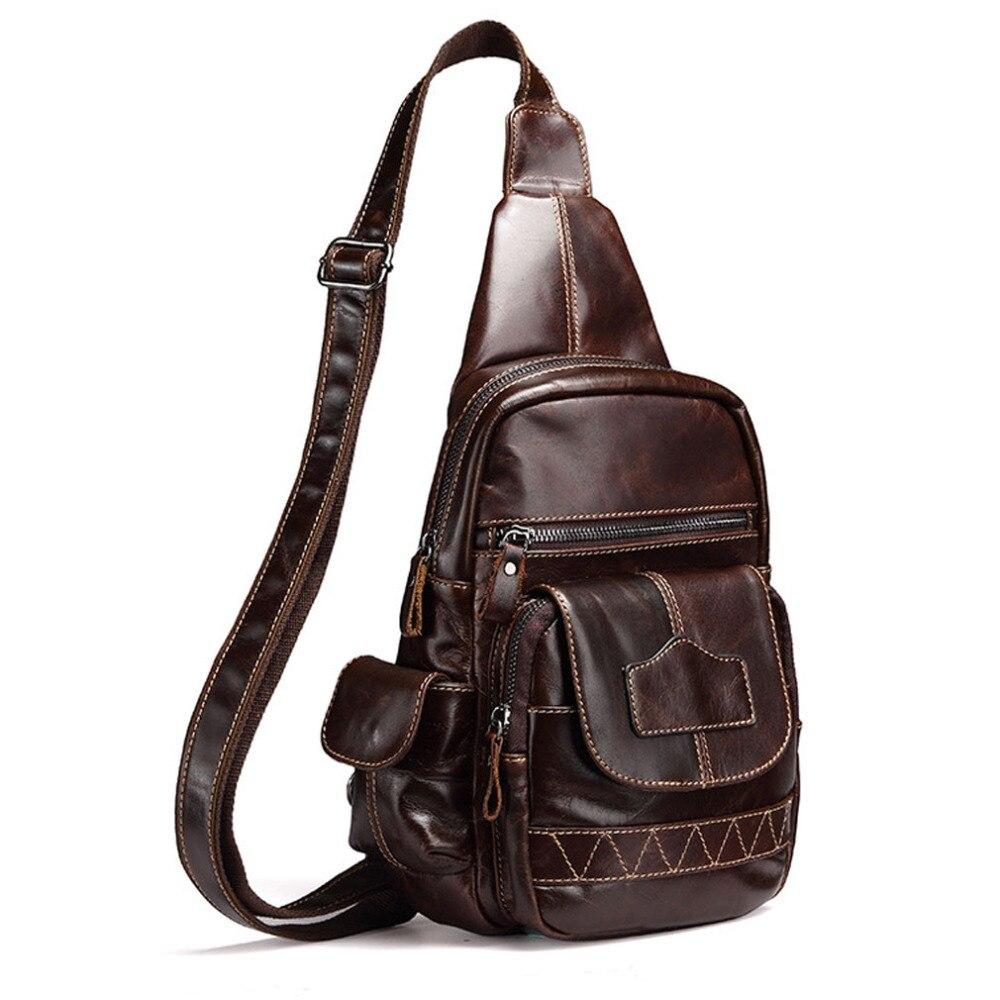 New Mens Vintage Genuine Leather Cowhide Messenger Shoulder Cross Body Bag travel Sling Chest Back Pack<br>
