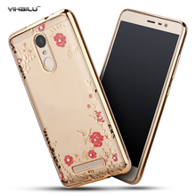 Diamond Case For Xiaomi Redmi Note 3 Plating Rhinestone Transparent TPU Case Slim Silicon Cell Phone Protective Back Cover(China)
