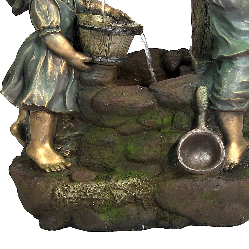 Sunnydaze Children at the Well Outdoor Water Fountain with LED Light, 39 Inch Tall (3)