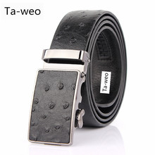 Fashion Casual Men's Leather Belt, Ostrich Striped Pattern Belt, Designer Belts Men High Quality, Automatic Buckle Belts