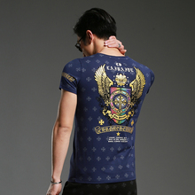 2017 Top fashion Latest Design Blue Bronzing Cross Men's V-neck T shirt Men Tops Short Sleeve T-shirt Street Style M-4XL