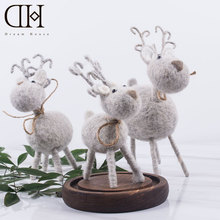 DH wool reindeer christmas figurine decoration xmas  miniatures christmas decorations for home navidad gift christmas ornaments