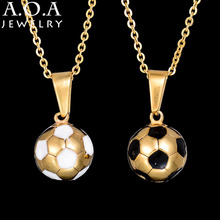 Factory Direct Stainless Steel Football Necklace Soccer Chic Necklace Pendant Sporty Ball Brand Jewelry(China)