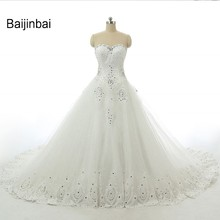 Buy Baijinbai Luxury Real Vestido De Noiva White Rhinestone Beaded Appliques Sweetheart Lace-Up Court Train Wedding Dress 2017 for $143.00 in AliExpress store