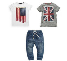 Retail 2015 Summer Baby Boys Denim Sets White/Gray Print Flag T Shirts+Casual Shorts Jeans Pants 3PC Suits Costume Free Shipping