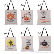 20 pcs DHL  New Halloween Bag with Black Handle 6 color for Women Girl Pumpkin Shopping Tote Bags Festival Gifts Bag 36X48CM