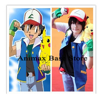 Pokemon Go Ash Ketchum Cosplay Costume Blue Jacket + Gloves + Hat Ash Ketchum Costumes Uniform set