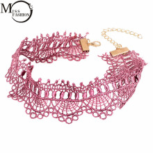 MISS FASHION Crochet  Black Pink Lace Choker Necklace Personality Women Collar Jewelry Vintage Collares Necklace for Party Gift