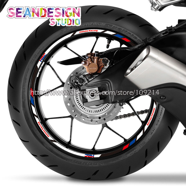 For Honda Racing HRC CBR1000 600RR CB1000R CB650F CB500R VFR1200/800 Motorcycle Wheel Sticker Decal Reflective Rim Bike Suitable<br>