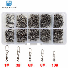 Easy Catch 210pcs/set Crane Fishing Swivel With Nice Snap Hard Fishing Lure Connector Set With Box