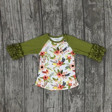 baby girls Fall/winter boutique top t-shirts children clothes icing half sleeve cotton raglans olive green flower floral print(China)