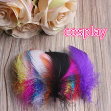 Wholesale free shipping 100pcs/lot Mixed color feathers 4-8cm goose feather plumes for wedding hat hair accessories craft making(China)