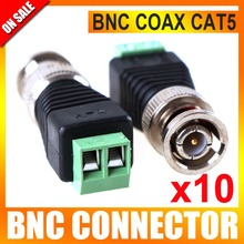 10Pcs/lot Mini Coax CAT5 To Camera CCTV BNC UTP Video Balun Connector Adapter BNC Plug For CCTV System