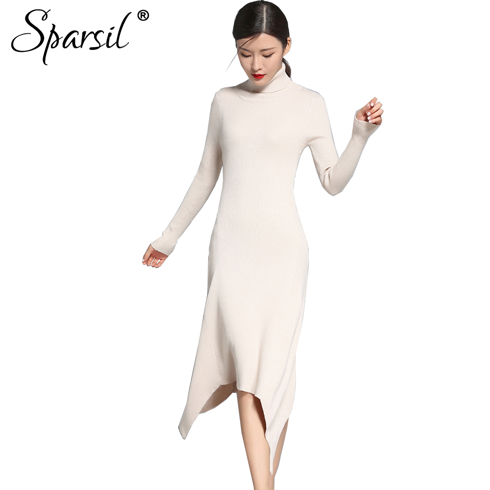 Sparsil Women Autumn Winter Wool Knitted Sweater Dresses Turtleneck  Irregular Hem Slim Elegant Dress Long Sleeve Sexy VestidoÎäåæäà è àêñåññóàðû<br><br>