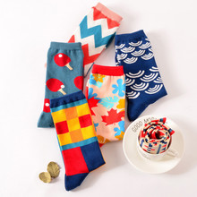 Fashion Happy Socks British Wind Geometric Hit Color Personality Couple Male Cotton Sox Women Socks Calcetines(China)