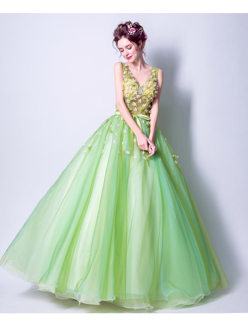 Angel Wedding Dress Marriage Bride Bridal Gown Vestido De Noiva 2017Soft powder, Qingjian Lvxian beauty, petals, green 9718 16