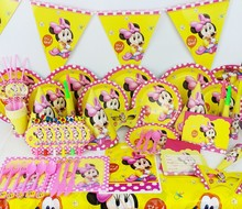84pcs Luxury baby Minnie theme Baby birthday party set plate cup&napkin tablecloth favor gift for Kids Event Party Supplies