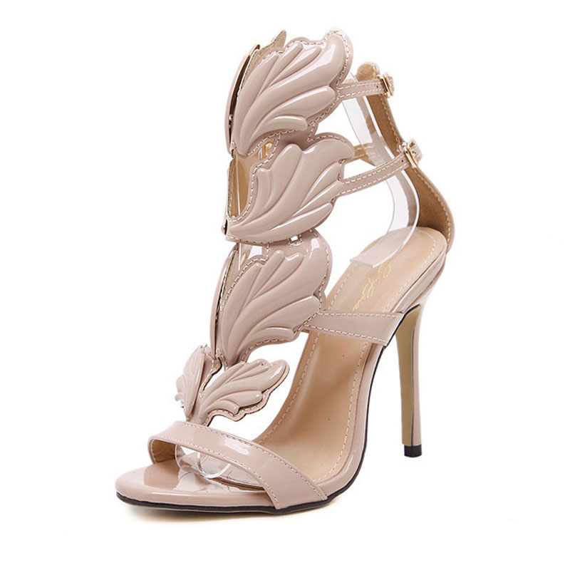 2018 New Spring/Autumn Women High Heel Shoes Sexy Metal Wings Buckle Footwear Female Fashion Ladies Shoes Women Pumps BT763<br>