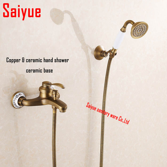 Wall mounted antique brass bronze brushed bathtub faucet with hand shower bathroom shower faucets torneiras<br><br>Aliexpress