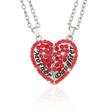 2 Parts Love Betwee Mother&Daughter Rhinestone Broken Heart Necklace Jewelry Full Red Crystal Pendant Necklaces For Men/Girl