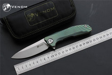 New VENOM folding knife Kevin John M390 Titanium Flipper pocket knife ceramic ball bearing camping hunting knives EDC tools