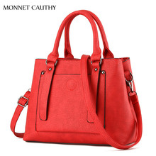 MONNET CAUTHY Newest Design Female Bags Solid Color Red Navy Blue Grey Purple Black Totes Elegant Office Lady Fashion Handbags