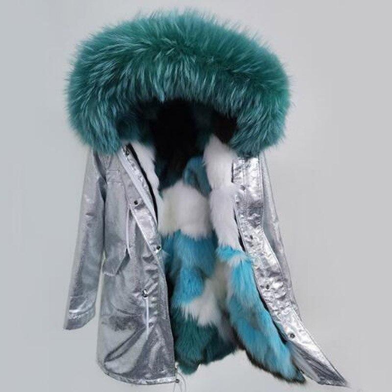 2018 neue parka Silber mantel echtpelz mantel winter jacke frauen natur waschbären pelz kragen warme dicke parkas Abnehmbare