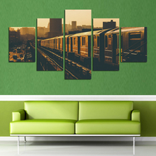 Free Shipping 5Panel Frameless Picture Train City Landscape By Numbers Pictures On The Wall Home Decoration Canvas Painting FA75(China)
