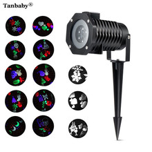 Tanbaby Outdoor 10 Type Moving Pattern Snowflakes Laser Projector Stage Light Garden Landscape Holiday Christmas Party lights(China)
