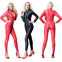 Buy Sexy Black Red Leather woman Jumpsuit Costume zipper Vinyl PU Leotard Latex Catsuit zipper Crotch Nightclub wear