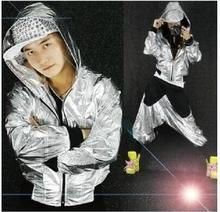 cheer boys costumes ballroom jackets hip hop jazz shiny lyrical modern dance wear clothes mens womens outfit kit:hoodie+pants(China)