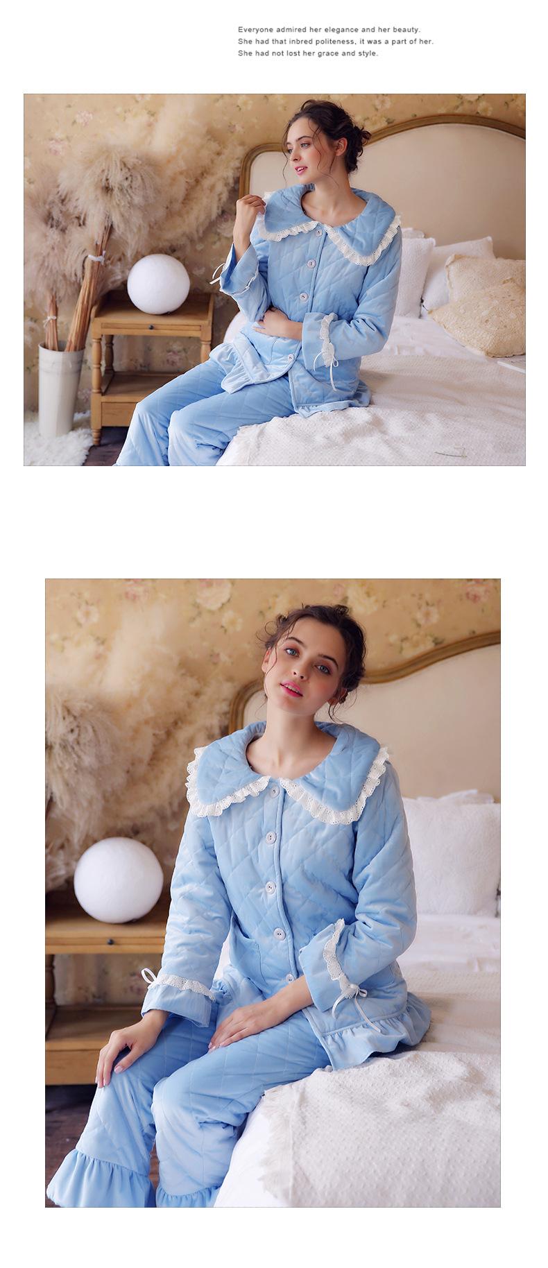 Autumn Winter New Ladies Thick Long-sleeved Cotton Princess Pijama Pregnant Fashion Cardigan 2PCS Maternity Pajamas Set YFQ260 5