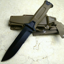 high quality Brown 7Cr17Mov Blade Hunting Fixed Knives Serrated Blade knife G10 Handle Survival Knife Tactical & K Sheath