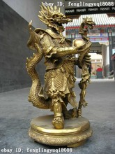 "free shipping wholesale Retro bronze factory outlets Large rare 17""Chinese myth oddity Pure brass sea dragon King buddha statue(China)"