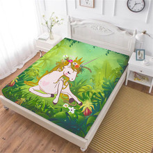 Girls Princess Unicorn Bed Sheet Jungle Green Plant Leaves Print Fitted Sheet Sweet Cartoon Bedding Polyester Bedclothes D45(China)