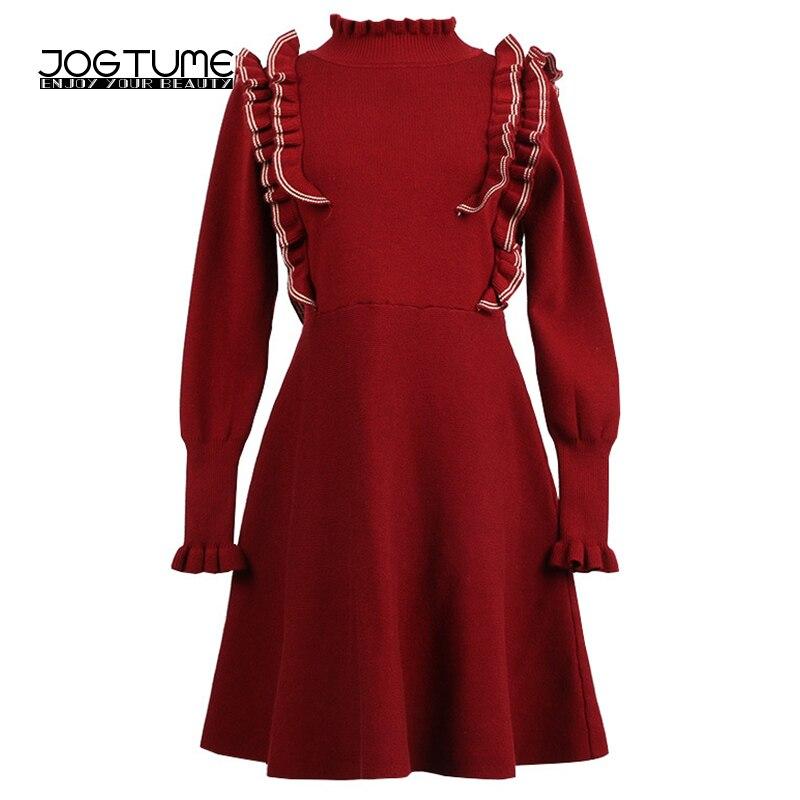 Knitted Dress Sweater 2018 Spring Womens Mini Dresses Turtleneck Long Sleeve Ruffles Ladies Fashion Slim Vestidos Black BurgundyÎäåæäà è àêñåññóàðû<br><br>