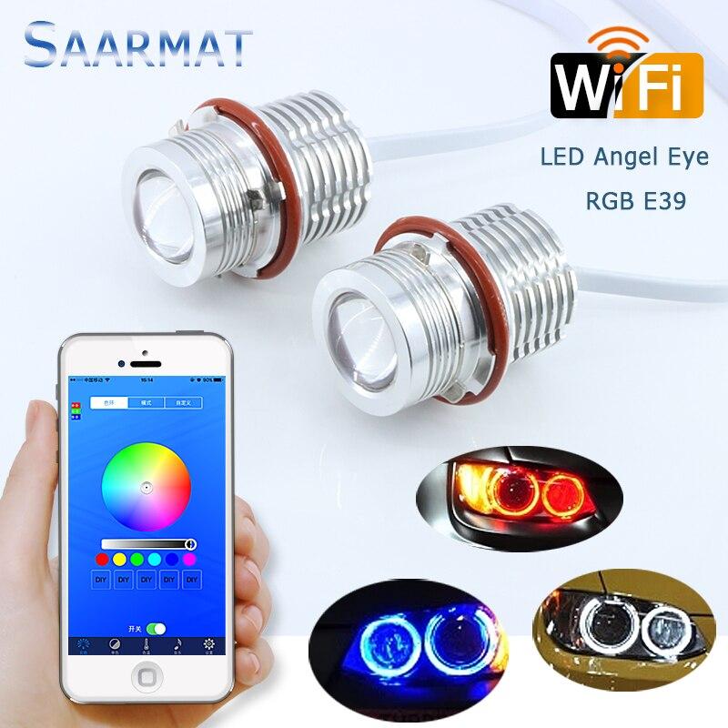 1Set RGB Wifi DIY Colors LED Angel Eyes Marker Kit 2000LM 60W 2*30W w/ CREE Chips DRL For BMW E39 E60 E63 E65 E53 E83 E87 <br>